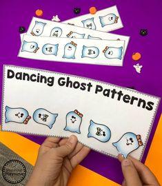 Preschool Patterns Game for Halloween - Twist to Match Dancing Ghosts Halloween Theme Preschool, Halloween Letters, Halloween Worksheets, Halloween Math, Fall Preschool, Halloween Activities, Preschool Worksheets, Preschool Crafts, Kid Crafts