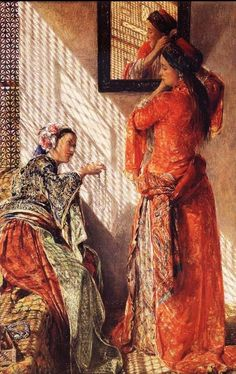 Woman At Harem In Mamluk-Ottoman Egypt By Lewis John Frederick , Cairo , 1873 ,19th Century ,Current Location:The Whiteworth Gallery , University Of Manchester , UK.for more stories please visit us at: www.windandwave-eg.com and contact us at: info@windandwave-eg.com