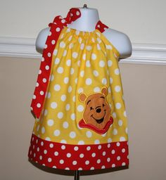 winnie the pooh pillowcase dress pooh bear by BlakeandBailey, $28.50 Yellow and red dress with polka dots