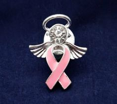 Pink Ribbon Pins - Angel Tac (36 Pins) by Fundraising For A Cause. $83.00. Wear a ribbon - a symbol to share of hope, strength, and courage to show all that you care. The body of the angel is a pink ribbon with angel wings and halo. This pin is approx 1 inch by 3/4 inch. Each pink ribbon ribbon pin comes in a gift box with cotton insert.  You get 36 pins.