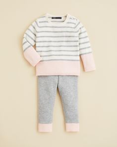 Vince Infant Girls' Stripe Colorblock Sweater & Leggings | Bloomingdale's
