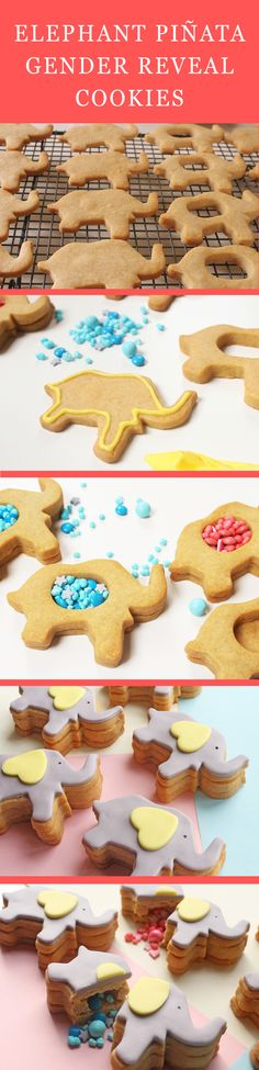 Make your gender reveal extra special — and tasty! Set aside some time to follow this recipe for elephant piñata gender reveal cookies.   [ http://www.babble.com/best-recipes/elephant-pinata-gender-reveal-cookies/ ]