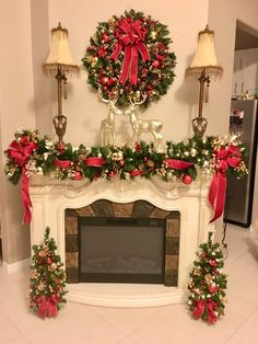 Black Friday Set of Christmas Red Velvet Wreath GarlandExquisite Christmas Wreath, Garland & Topiaries by TylerInteriorsAwesome Fireplace Christmas Decoration To Makes Your Home Keep Warm thoughts come to your mind when you think of holiday de Indoor Christmas Decorations, Christmas Mantels, Simple Christmas, Christmas Home, Christmas Holidays, Christmas Wreaths, Christmas Crafts, Red And Gold Christmas Tree, Christmas Fireplace Garland