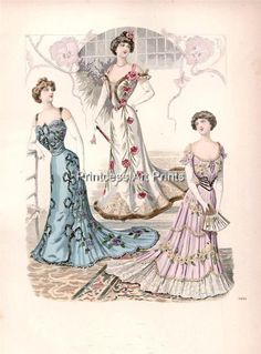 Set of 3 Full Color Prints! 9 Different Victorian Ball Gowns Fancy Dresses