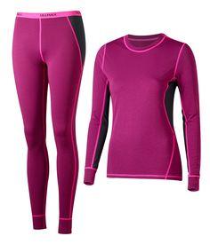 """Active Wool Set Women Toiminnallinen alusasu uutta ihanaa Active Wool-laatuamme. Polyesterin ja merinovillan yhdistelmä lämmittää ja hengittää. Kangas on pehmeää ja ihanan """"pumpulimaista"""". • Hyvä lämmöneristys • Tehokas kosteuden siirtokyky • Nopeasti kuivuva materiaali • Litteät saumat tuovat lisämukavuutta • Konepestävä 40 asteessa  Koko: XS-XXL Materiaali:84% Dri-Release polyesteri, 11% merinovilla, 5% elastaani"""