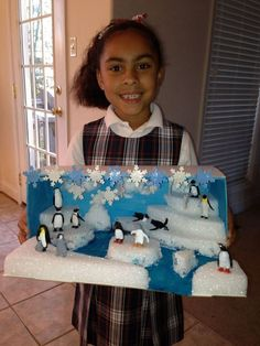 Check out this cute arctic diorama!Winter Penguins 🐧 Christmas in July themed project idea School Projects, Projects For Kids, Diy For Kids, Science Projects, Crafts For Kids, Ecosystems Projects, Class Projects, Project Ideas, Science For Kids