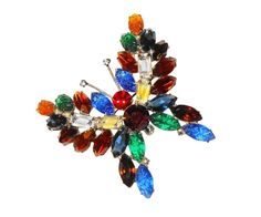 KJL Kenneth Jay Lane's Vintage Signed Bold Multi-colored Marquise Swarovski Crystals Figural  Butterfly by BeccasBestJewelry on Etsy