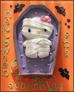 Hello Kitty Halloween, Hello Kitty Christmas, Hello Kitty Rooms, Hello Kitty Cake, Sanrio Hello Kitty, Halloween Baking, Halloween Snacks, Halloween Cookies, Hello Kitty Theme Party