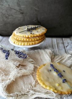lemon glazed lavender and lemon shortbread cookies