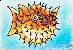 ACEO Original Puffer Fish Collectible Artist Trading Card ATC 2.5 x 3.5