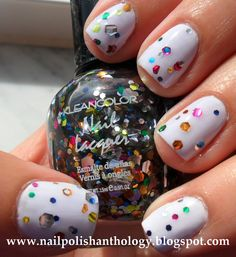 multi-colored speckles nails