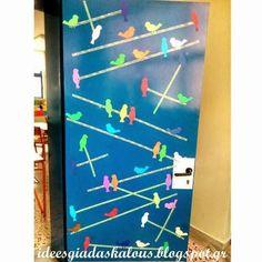 Ιδέες για δασκάλους:Διακόσμηση πόρτας: Πουλάκια στα σύρματα
