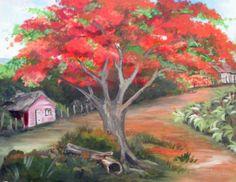 Pintura de un flamboyán rojo en Puerto Rico.