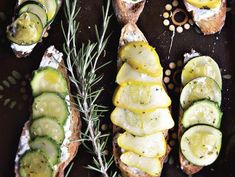 Online recipes from veg literacy by Deborah Madison. Summer squash tartines with rosemary and lemon Salada Light, Tartine Recipe, Vegetarian Recipes, Healthy Recipes, Healthy Food, Healthy Eating, Yummy Food, Vegetarian Cooking, Great Recipes