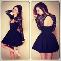 black dress black lace dress black lace long sleeve dress open back dress black short dress short backless dress short prom dress Dresses Short, Formal Dresses, Sexy Dresses, Dresses 2014, Backless Dresses, Cheap Dresses, Formal Prom, Summer Dresses, Church Dresses