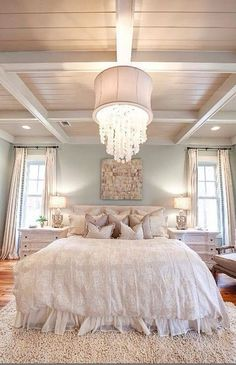 Shabby chic bedroom. Think about blush, cream, pale aqua, and white with Aubusson rug.