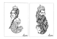 Queen & King by Aesa Illustration  black&white - lions - animal - drawing