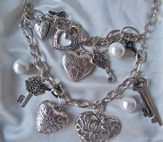 Vintage Hearts Keys Baubles Charm Necklace by cynthiasattic, $24.00