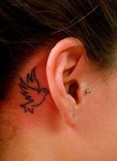 Feminine Dove Tattoo for Ear