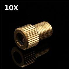 10Pcs Solid Brass Valve Adapter Converter Presta to Schrader Bike Pump Tube