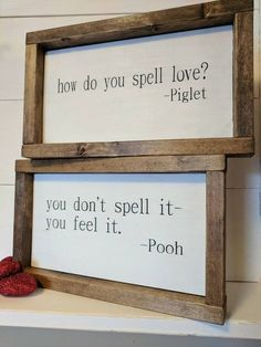 THE ORIGINAL farmhouse inspired Pooh and Piglet 'how do you spell love' quote framed wood sign SET These are fully wooden, framed signs. There are TWO SIGNS in this SET. These signs measure about 11 a Décor Antique, Diy Casa, Home And Deco, My New Room, Rustic Farmhouse, Farmhouse Signs, Kitchen Rustic, Rustic Cottage, Wooden Signs