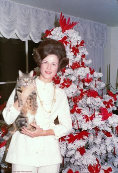 +~+~ Vintage Photograph ~+~+   Classic 1970 flocked tree but I'm not sure about the Princess Leia hairdo ;)