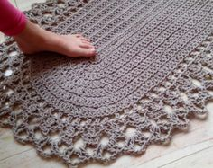 Leave Chunky Cotton Hand Knit Rope Rug Rectangular Big Stich