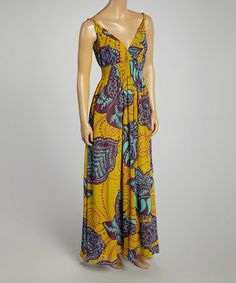 Another great find on #zulily! Aqua Abstract Surplice Maxi Dress by Aryeh #zulilyfinds