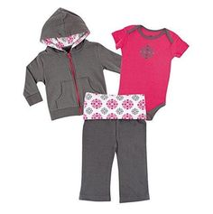 Yoga Sprout Baby Bodysuit Pant and Hoodie Set Pink Medallion 12-18 Months