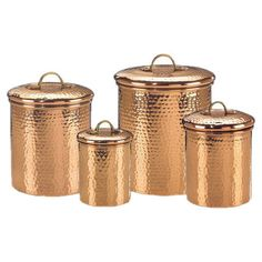 Hammered copper canisters for the kitchen. Storing flour in something like this is way more fun than a tupperware container.