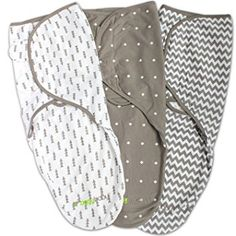 Swaddle Blanket, Adjustable Infant Baby Wrap Set by Ziggy Baby, 3 Pack Soft Cotton in Grey