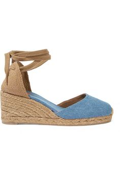 Wedge heel measures approximately 60mm/ 2.5 inches Blue denim Ties at ankle Imported