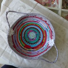 HANDMADE FABRIC COILED BASKET DIRECTLY FROM THE ARTIST ONE OF A KIND ROPE QUILT #HandmadeBYRIVKAFILIN