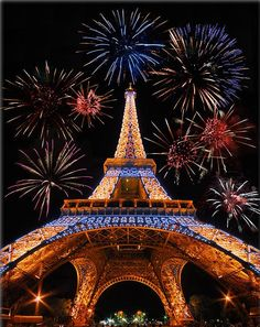 The Eiffel Tower... at night... with fireworks... cliche I know but still fabulous!
