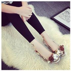 Big Size Floral Print Retro Vintage Butterflyknot Hollow Out Slip On Open Heel Flat Sandals