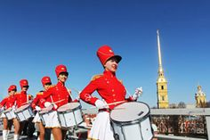 A group of marching drummers during the celebrations for the anniversary of Nikolai Vasilevich Gogol's birth in St. Petersburg, which included the firing of a cannon-shot at noon from the Peter and Paul Fortress