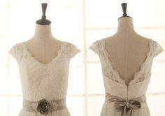 Vintage Inspired A LINE Lace Wedding Dress Cap Sleeves Open V Back Dress with Train Sash Diy Wedding Dress, Wedding Bells, Lace Wedding, Dream Wedding, Wedding Things, Wedding Inspiration, Wedding Ideas, Dress Backs, Sash