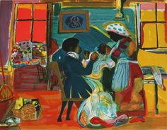 """Romare Bearden (1911-1988) """"Quilting Time"""""""