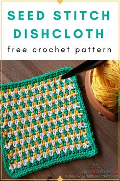 This crochet seed stitch dishcloth has an easy-to-follow pattern for you!