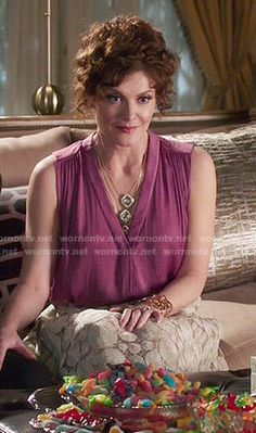 Evelyn's pink sleeveless top and polka dot lace skirt on Devious Maids.  Outfit Details: http://wornontv.net/51210/ #DeviousMaids
