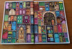 Colin Thompsons / Fantastisches Malbuch Seite 2 - Türen gemalt mit Koh-I-Noor und Ergo-soft Farben