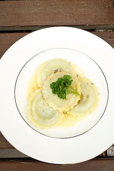 Spinach and Cheese Ravioli with Sage and Garlic Butter Sauce