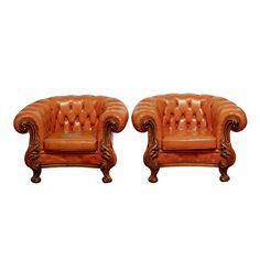 19th Century English Chesterfield Club Chairs by ErinLaneEstate  #leatherclubchairs #chesterfieldchairs #tuftedchairs #englishclubchairs #antiqueclubchairs #vintageclubchairs #britishclubchairs
