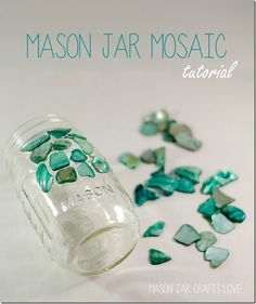 how to make a mosaic mason jar. Once you try a mosaic DIY, you want to mosaic EVERYTHING. So it's no surprise that there is a tutorial out there for creating a mosaic mason jar. And we wouldn't be doi (Decorated Bottle Mom) Mosaic Crafts, Mosaic Projects, Mosaic Art, Mosaic Glass, Craft Projects, Mason Jar Projects, Mason Jar Crafts, Mason Jars, Sea Glass Crafts