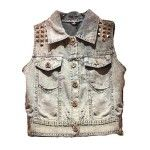Retro Cropped Point Collar Washed Denim Vest with Stud Detail
