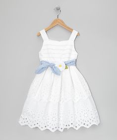 White Daisy Tie Dress - Toddler & Girls