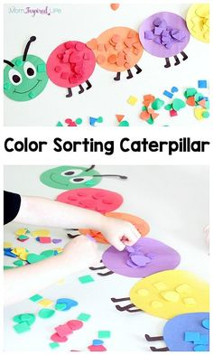 Shape and color sorting caterpillar. A fun spring activity for toddlers and pres… Shape and color sorting caterpillar. A fun spring activity for toddlers and preschoolers! Shape and color sorting caterpillar. A fun spring activity for toddlers and pres… Preschool Colors, Toddler Preschool, Preschool Crafts, Crafts For Kids, Educational Crafts For Toddlers, Spring Preschool Theme, Home School Preschool, Preschool Painting, Preschool Shapes