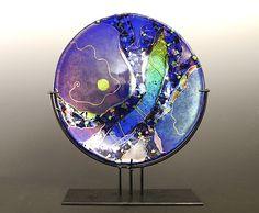 Small Cobalt Blue Platter on stand: Karen Ehart: Art Glass Sculpture | Artful Home