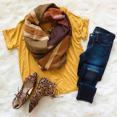 Shop this Look || Mustard V-Cut Tee || + || Flying Monkey Cropped Skinny Jean || + || Rust Tones Blanket Scarf || + || Just Like That Cheetah Printed Flats ||