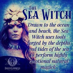 Drawn to the ocean and beach, the Sea Witch uses tools forged by the depths and tides of the sea to perform highly emotional natural magick. Water Witch, Sea Witch, Witches Woods, Witch Drawing, Fantasy Mermaids, Real Mermaids, Witchcraft For Beginners, Traditional Witchcraft, Witch Tattoo